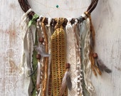 Gold and Cream Shabby Dreamcatcher/Wall Hanging