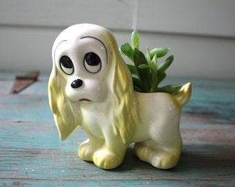 Sad Puppy Planter, Succulent Planter, Vintage Planter, Dog Figurine, Dog Decor