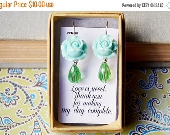 VALENTINES DAY SALE Blue Blooming Rose Earrings with Green Teardrop