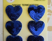 Iron-on Sequins Blue Hearts Applique Patches Set of 6