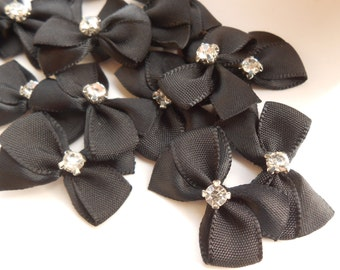 Black Bows with Rhinestone 10 pcs