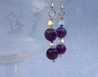 Amethyst Crystal Earrings, Swarovski Crystal Earrings, February Birthstone Earrings, Bridal Earrings, Sterling Silver Earrings