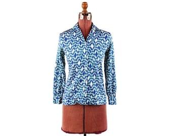 ON SALE Vintage 1960's Blue Abstract Pop Art Geometric Pattern Neon Cotton Mod Blouse Shirt SALE S