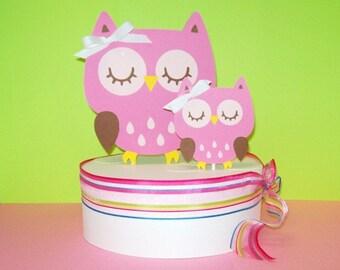 Owl Cake Topper/ Momma & Baby/ Baby Shower/ Happy Birthday/Pink Set