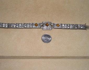 Vintage Pot Metal Art Deco Rhinestone Bracelet 1920's Jewelry 7041