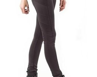 Summer Sale SLU Scuba Jersey Biker Leggings Tights Skinny Pants / Dark Chocolate Brown / size S extra long