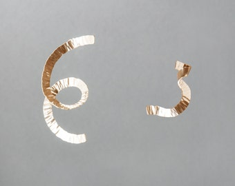 Silver or Vermeil Hammered Flux Asymmetrical Earring Set | Sequence Collection by Haley Lebeuf