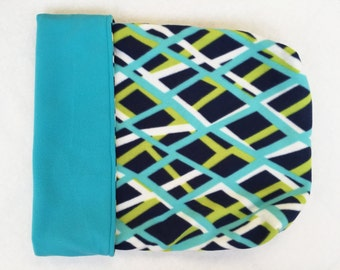 Dog or Cat Burrow Bag, Sleeping Bag, Snuggle Sack, Aqua, Lime, Navy, and White Geometric Print with Aqua Fleece Lining