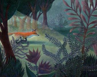 Childrens Art - Giclee Print - Fox in the Forest - Nursery Art - Children Decor - Home Decor - Wall Art