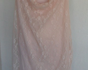 Vintage Chemise Nightgown Pink Lace and Chiffon Nightie Size 2X