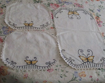 Vintage Embroidered Doilies 3pc Set with Butterflies