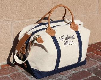 Monogram Navy Canvas Weekender Bag, Monogrammed Navy Canvas Overnight Bag, Canvas Sachel, Personalized Navy Canvas Weekender, Hospital Bag