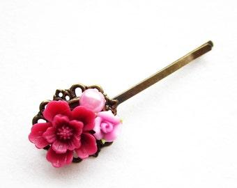 Haarklammer,haarspange,hair pin,hair clip, hochzeit,wedding,Blumen,Vintage-Stil,pink