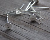 100 pairs Silver Plated Earring Posts with 4mm Flat Pads Nickel Free