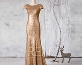 2016 Long Gold Sequin Bridesmaid dress, Cap Sleeve Metallic Wedding dress, Scoop neck Evening dress, V Back Mother Of Bride MOB Gown(GQ161A)