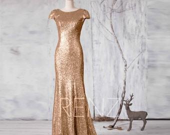 2016 Long Gold Sequin Bridesmaid dress, Cap Sleeve Metallic Wedding dress, Scoop neck Evening dress, V Back Mother Of Bride MOB Gown(GQ161A)