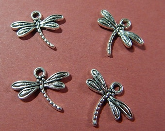 4 Pc Dragonfly Silver Plated Charms One Sided Jewelry Collage Mixed Media Altered Art