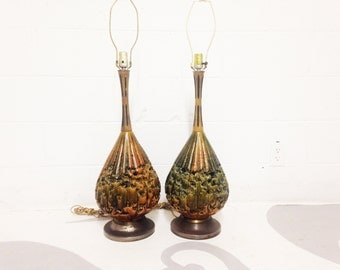 mid century modern lamps set of two