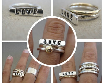Sterling Silver with sterling silver word bar top Stacking Ring - Made to Order