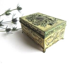 Shabby Metal Box Jennings Brothers 752 1900 c Treasure Box Heavy Metal Ornate Box Collectible Box Art Nouveau Box