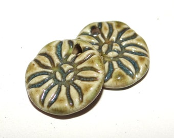 Ceramic Earring Charms Pair Rustic Stoneware Pottery Green Flowers