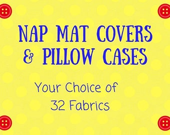 Nap Mat Cover Sets - Nap Mat Covers with Matching Pillow Case - Envelope Back Pillow Case - Lightning McQueen Cars Dinosaurs Cupcakes Rocket