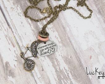 Heart Bike Necklace, Bike Necklace, Bike Jewelry, Cycling Necklace, Cycling Jewelry, Bicycle Necklace, Bicycle Jewelry, Road Bike Necklace