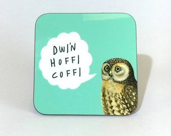 New Melamine Coaster Dwi'n Hoffi Coffi Welsh I Like Coffee Aqua Blue