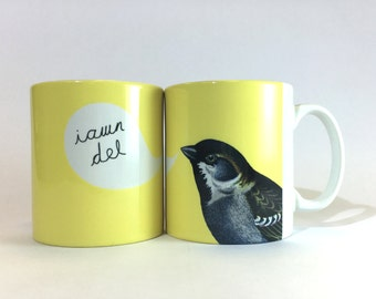 New Mug Iawn Del Welsh Ok Pretty Pale Yellow Bird Ceramic Mug 11oz