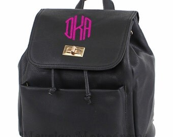 Personalized Faux Leather Black Backpack Purse  with 3 Initial Monogram Included