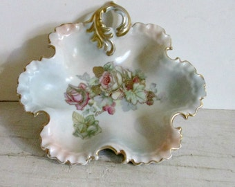 Vintage Porcelain Candy Dish, Ruffled and Scalloped Edges, Floral Design, Gold Highlights and Trim, Dining Room Decor, Living Room Decor