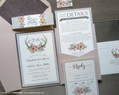 Floral Antlers Woodland Watercolor Wedding Invitation Sample | Flat or Pocket Fold Style
