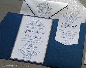 Modern Damask Flourish Wedding Invitation Sample | Flat or Pocket Fold Style