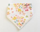 NEW Bandana bib girl /  bibdana / drooler bib / baby bib / drooler scarf / baby girl bandana bib / guguberry /Floral swirl with pom trim
