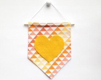 Mini Banner with Triangle Print Fabric and Dark Yellow Felt Heart