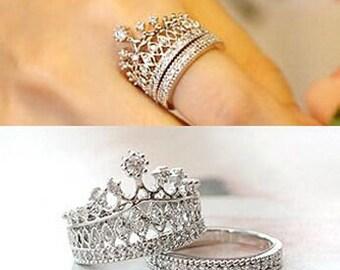 Ring, tiara ring set, crown ring set, silver tone tiara ring, fashion ring, crown ring, ring with crystals, princess ring, sizes 6.5, 7, 8,