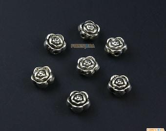 50Pcs Antique Silver Rose Bead Rose Charm Flower Pendant 6x6mm (PND995)