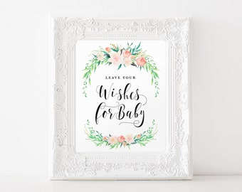 """Instant Download - Delicate Bouquet Wishes for Baby - Baby Shower Sign - 8""""x10"""""""