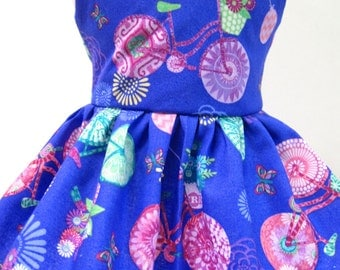 Butterflies and Bicycles on Purple Sleeveless Dress for your American Girl Doll A