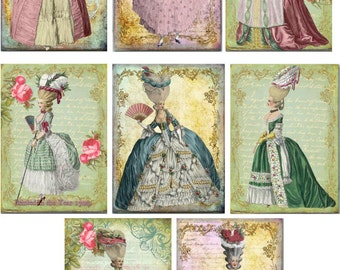 Marie Antoinette stationery with 8 ivory envelopes