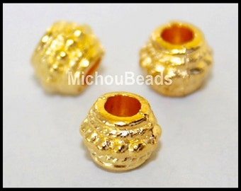 25 GOLD 8mm Tibetan Style DRUM Spacer Beads - 8X6mm w/ Large 3.4mm Hole Boho Nickel Free Metal Beads - USA Wholesale - Instant Ship - 5733
