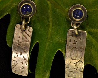 "lapis earrings with patterned sterling silver.  ""my favorite jeans"""