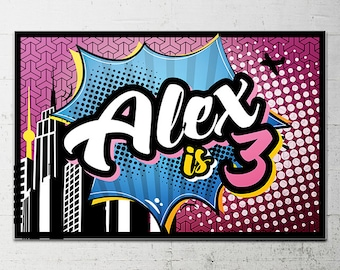 Superhero Girl Birthday Party Backdrop - Printable sign - DIY Print candy buffet sign, dessert table, super hero, heroine, super city sign