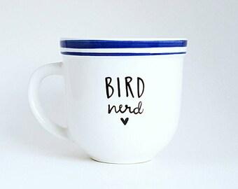 Bird Nerd, Mother's Day Gift, Under 25, Funny Animal Lover Quote Coffee Tea Mug, 10 oz White, Dishwasher Safe