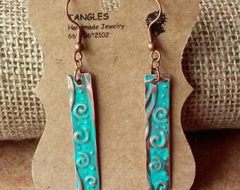 Copper Stick Earrings, Patina Earrings