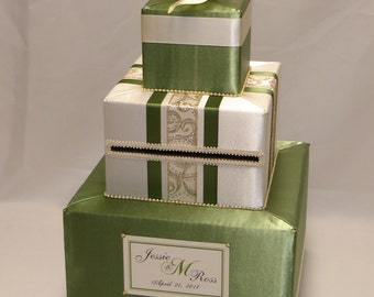 Olive Green( Sage) and Ivory Wedding Card Box-Gold accents-Calla Lilies-any color