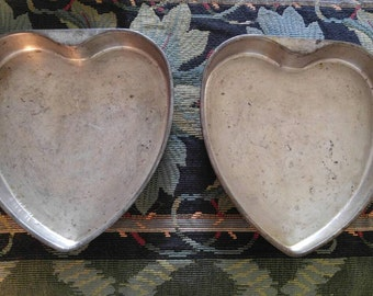 My Mothers Vintage 1950 Heart Shaped Cake Pans Pair