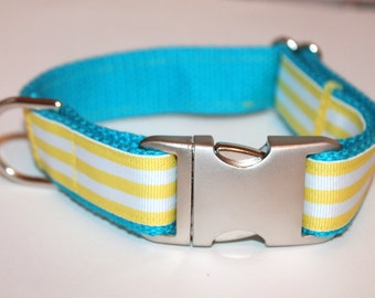 Striped Dog Collar Matching Leash Yellow and Turquoise Leash and Collar Set Yellow Stripe Dog Collar Turquoise Dog Collar Yellow Dog Leash