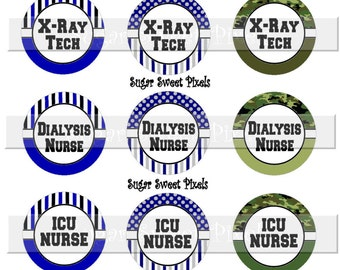 Instant Download Mens  Nurse Title Sheet 4  X-ray, Dialysis, ICU, Surgery, Respiratory 1 inch Circle Bottlecap Images 4x6 sheet