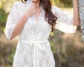 Ivory Lace Bridal Robe, Lingerie, Getting Ready, Bridal Gift, Bachelorette Gift, Honeymoon, Lace Kimono, Wedding Gift, I do, White Lace